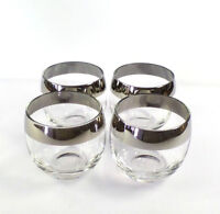 Mid Century Dorothy Thorpe Silver Rim Band Roly Poly Glasses x 4