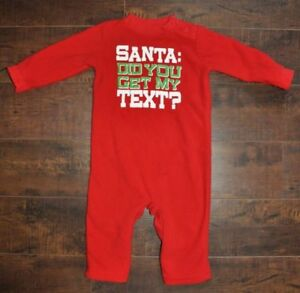 "LIKE NEW: ""Santa Did You Get My Text"" Fleece Xmas PJs (6-9M)"