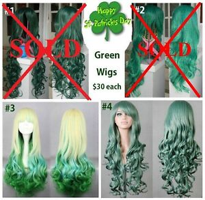 *SALE*  NEW: Deluxe St Patrick's Day Green Cosplay Wigs