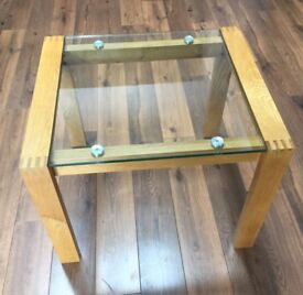 Oak and glass topped side table