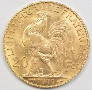 GOLD coin France 20 Francs 1911 monnaie en OR napoleon