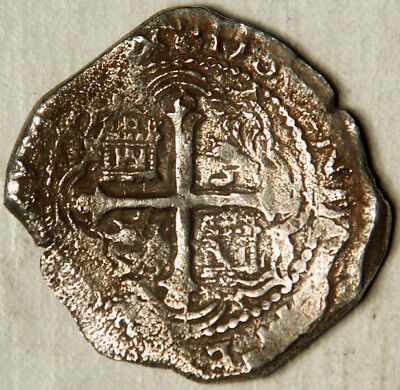 MEXICO SPANISH COLONIAL COB SILVER 8 REALES 1607-17 (LOOKS LIKE 1614)