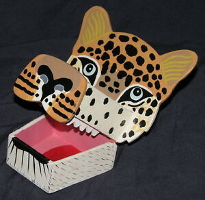 FOLK ART HAND MADE, & PAINTED WOODEN TIGER HEAD box SRI LANKA
