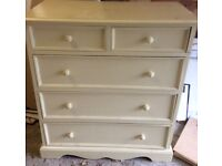 Shabby chic style painted pine chest of drawers