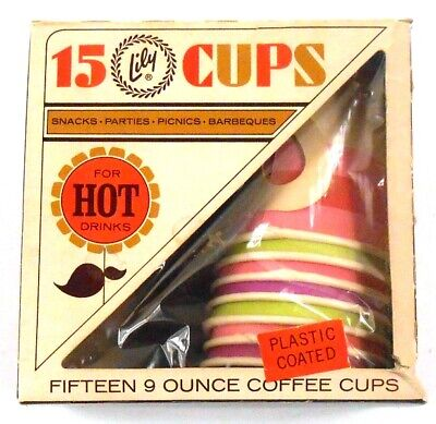 7 Lily 9 ounce Vintage Hot Drink Coffee Cups w/ Box Plastic Coated Pink Green - Pink Paper Coffee Cups