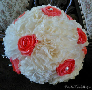 Ivory & Coral Coffee Filter Bridal Bouquet/ Rustic Wedding Belleville Belleville Area image 2
