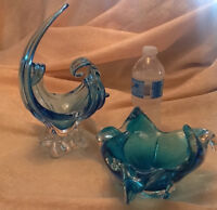 Collection blue art glass:decanter/glasses/murano style bowls