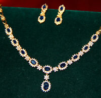 WOW FACTOR!!! 14 KARAT GOLD DIAMOND AND SAPPHIRE NECKALCE AND EA