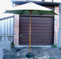 Large Free Standing Patio Umbrella,wood frame w/concrete stand