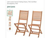 John Lewis Venice folding chairs x2
