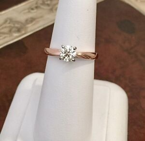 14K ROSE GOLD .56ctw.ROUND CUT DIAMOND SOLITAIRE ENGAGEMENT RING
