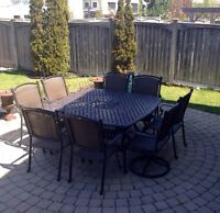 PATIO WEATHER IS HERE! WROUGHT IRON AND RATTAN PATIO TABLE