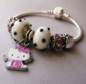 Pink-Hello-Kitty-Princess-European-Charm-Bracelet-Child-Small-Sizes-Available