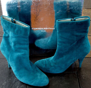 Sigerson Morrison Teal Suede Boots Size 7.5
