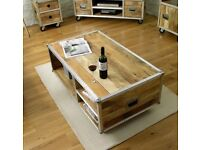 Brand new 3 piece Baumhaus Roadie Chic furniture - trunk, coffee table and TV cabinet unit stand