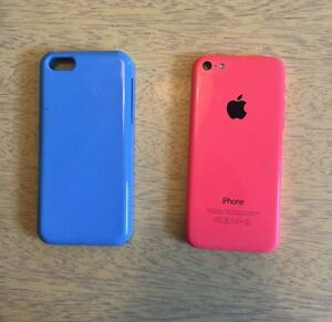 iPhone 5C pink, 16gb, Fido with a blue case