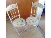 Chairs, real mosaic ceramic metal framed foldable chairs