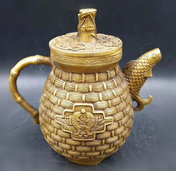Chinese Exquisite Brass Handwork Carved Pattern Teapot RT21