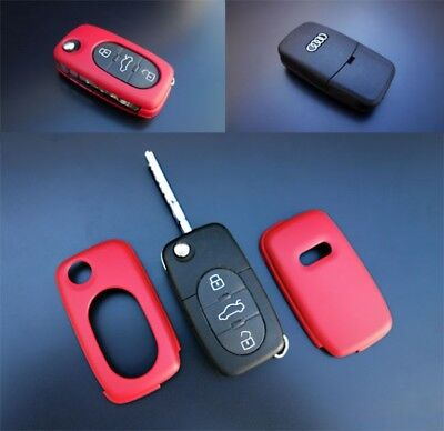 Audi Red Remote Flip Key Cover Case Skin Shell Cap Fob Protection Bag Hull-