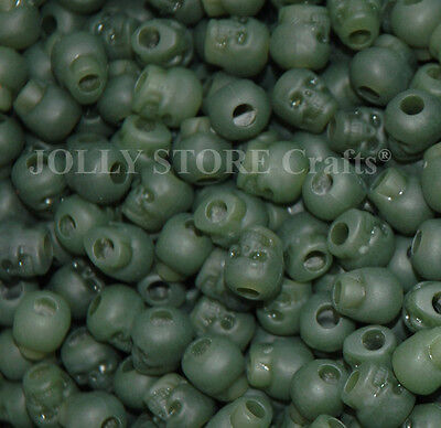 100 Jade color Skull Pony Beads for halloween crafts paracor