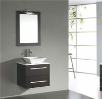 """Solid Wood 24"""" Wallmount Bathroom Vanity with White Stone Top"""