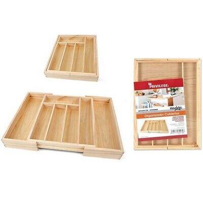 Bandeja organizador para Cubiertos de madera, 5 compartimentos extensible a 7