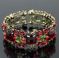 Bright red square crystals floral bronze cuff bracelet--NEW!