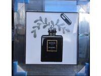 Moet grey goose Bacardi Chanel mirror framed liquid art