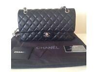 Chanel 2.55 classic flap bag 25cm black silv not Hermes Gucci Prada Lv