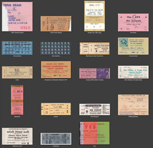 Old Vancouver Concert Ticket Stubs Wanted