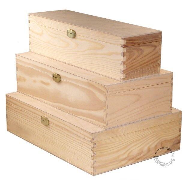 HOLZBOX mit Deckel HOLZKISTE HOLZ-SCHATULLE AUFBEWAHRUNGSBOX Geschenkbox f. Wein