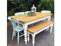 5FT NEW HANDMADE PINE TABLE BENCH & CHAIRS IN FARROW & BALL CAN DELIVER