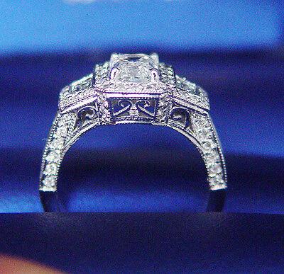 Natural 1.95Ct Micro Pave ArtDeco Emerald Cut Diamond Engagement Ring D,VS1 GIA  1