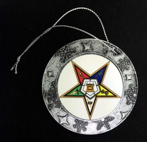 Order of the Eastern Star Round Resin Christmas Ornament with Pewter Finish