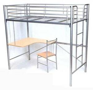 Bunk bed with desk underneath - metal colour Point Frederick Gosford Area Preview