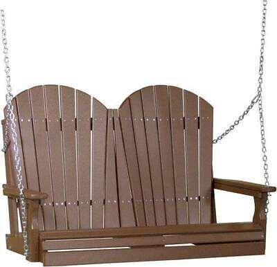 4 Foot Adirondack Porch Swing *CHESTNUT BROWN* Poly Lumber -Recycled Plastic 4' Adirondack Porch Swing