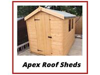 Apex Roof Garden Sheds (Quality Ship Lap T&G) FREE INSTALLATION & DELIVERY