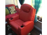 Bonded Leather Sofa Massage Recliner Chair Swivel Rocking Heating