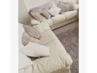 Cream leather 3 piece suite