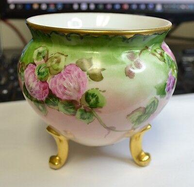 Hand Painted Porcelain Bowl / Vase / Pot with 3 legs floral / gold