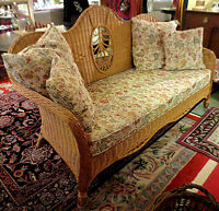**Wicker Settee w/Down Cushions – Visa, MCard, Delivery Avail