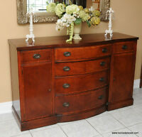 Antique Mahogany Bow Front Buffet / Sideboard by Drexel