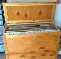 WOODEN POSTER STORAGE BOX   On wheels and with hinged lid and di