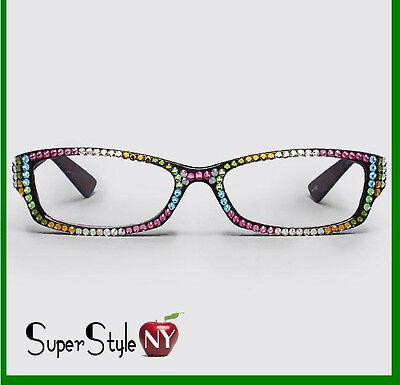 Multi Color Glasses Rhinestone Frame Crystal Rainbow Opti...