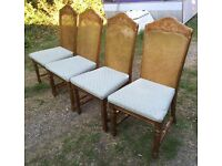 SET OF 4 SOLID WOODEN VINTAGE STYLE DINING CHAIRS