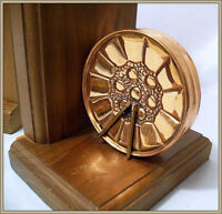 BOOKENDS -- Wood with COPPER DRUMS
