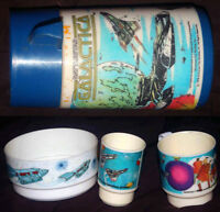 Battlestar Galactica: Set of dishes and thermos lot, vintage 70s