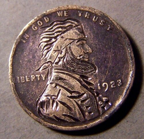 "HAND CARVED CLASSY HOBO COIN,OOAK, ""... Never Surrender ! ... """
