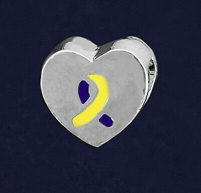 - Down Syndrome Awareness Charm Yellow Blue Chunky Heart Ribbon Large Hole Bead