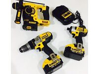 DeWalt SDS+ Hammer Drill, Combi & Impact Driver 2 x 4amp Batteries & Charger, see pics